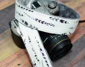 Valentine's Day Present - Grey and Plum Watercolor Feathers with Grey Minky - Padded Camera Strap for dSLR - Camera Accessories for Women