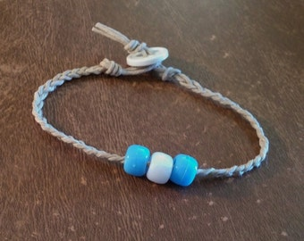 Clearance Hemp Bracelet [2] Blue And White Plastic Pony Beads White Button, Handmade, Natural Tan Hemp