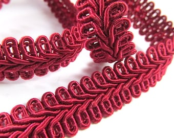 Burgundy Wine 1/2 inch or 13mm Romanesque Flat Gimp Trim sold by the yard