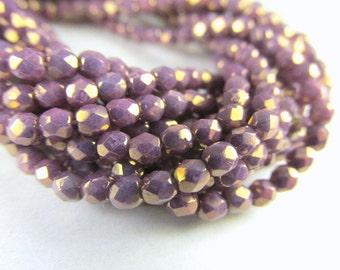 Light Purple Opaque Plum Czech 3mm Fire Polished Faceted Beads (50)