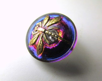 Purple, Fuchsia Blue and Gold 18mm Czech Dragonfly Button