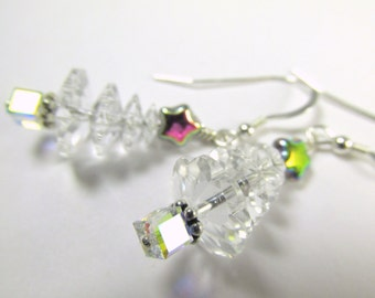 Christmas Tree Earrings on Fine Sterling Silver Wires in Swarovski Clear Austrian Crystal with Vitrail Medium Stars, and crystal AB cubes