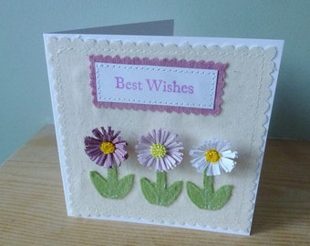 Lilac Daisy Best wishes applique and quilled card