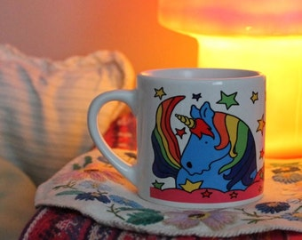 Child's Unicorn mug Colourful rainbow unicorn cup