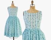 Vintage 60s SUN DRESS / 1960s L'Aiglon Blue ROSES Rosebud Cotton Day Dress M