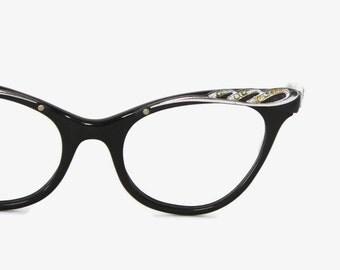 Vintage 50s CATEYE GLASSES / 1950s Black & Sparkly Silver Rhinestone Trim Eyeglasses Frames