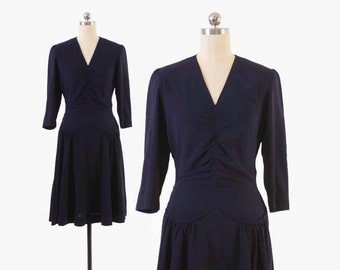 Vintage 40s Day DRESS / 1940s Navy Blue Rayon Ruched WWII Era Swing Dress S