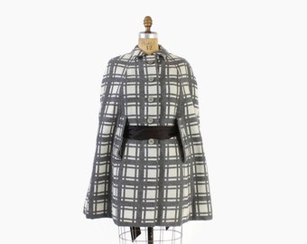 Vintage 60s Wool CAPE / 1960s Gray & White Plaid Check Mod Cloak Coat OSFM
