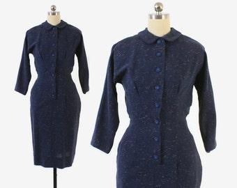 Vintage 50s Tailored DRESS / 1950s Cadet Blue Fleck Wool Day Dress XS