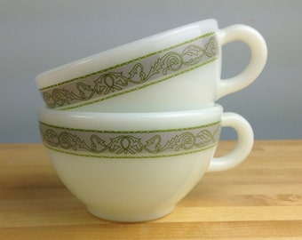 Vintage Nile Pyrex by Corning Teacups, Nile Pattern Pyrex Milk Glass Coffee Mugs, Tea Cups
