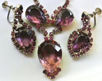 Vintage Purple And Pink Rhinestone Necklace And Earring Set