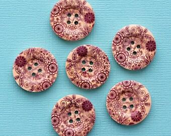 6 Large Wood Buttons Purple Floral Design 25mm BUT317