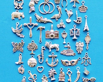 Cake Pull Charm Deluxe Collection Antique  Silver Tone 43 Charms - COL198