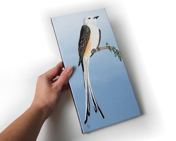Scissortail Flycatcher original canvas painting - Oklahoma State Bird art - scissor tail bird painting - songbird canvas art