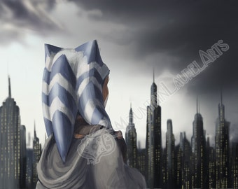 Ahsoka - Oncoming Storm - Star Wars Clone Wars Fan Art Print - Digital Art of Ahsoka Tano in Coruscant