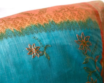 Pillowcase made from a recycled Indian sari