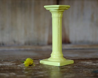 Vintage Yellow Ceramic Pillar Candle Holder / Single Tapered Candlestick / Handmade Retro Shabby Chic Home Decor