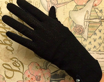 Vintage Gloves Black With Little Pearlized Buttons