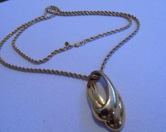 Vintage necklace, signed Monet pendant necklace, 32 inch chain, modernist necklace, Monet jewelry