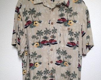 Vintage classic car Hawaiian shirt, palm tree print, tropical floral Aloha shirt, lowrider shirt, L car show shirt, tiki party luau BBQ