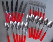 Royal Brand Cherry Red Bakelite Silverware Set, Set of 24, Vintage Silverware, Kitschy Kitchen Silverware, Deco Style Spoons, Forks, Knives