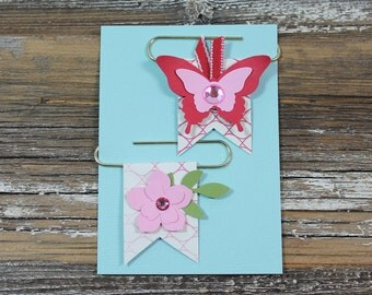 Planner Clips - Bookmarks - Butterfly & Flower Banner Clips - Set of 2
