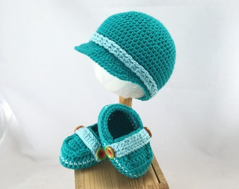 Newborn Teal baby newsboy hat and loafer set