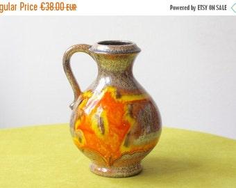 Summersale Vintage West German Pottery Handled Vase by Soendgen Walter Gerhard
