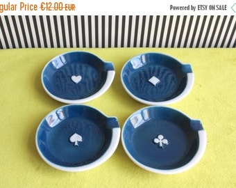 Summersale Vintage Playing Card Suit Set of 4 White and Blue Ceramic Ashtrays Heart Diamond Club and Spade