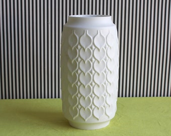 Vintage White Matte German Vase by Kaiser with Hearts Pattern