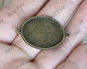 10 pcs of  Antique bronze charm Oval Cabochon pendant tray(Cabochon size 18x25mm),Oval glasses Pendant findings,cabochon blank findings