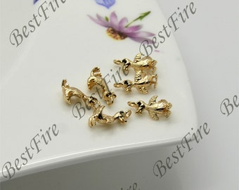 4 pcs Charm 24K Gold filled Brass Charm duckling Pendant Spacer, bracelet Connector ,necklace pendant Connector, Jewelry finding beads