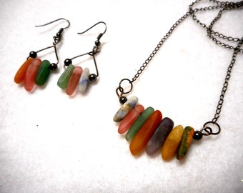 Necklace and Earrings, Gemstone Jewelry, Jewelry Set, Gunmetal Jewelry, Multi Gemstone Necklace