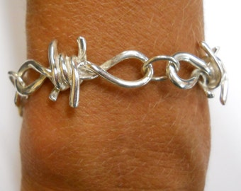 Sterling Silver, Gold or Platinum Ladies Barbed Wire Bracelet