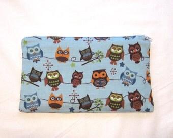 Hooty Owls on Lighter Blue Fabric Zipper Pouch / Pencil Case / Make Up Bag / Gadget Sack