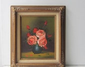 ON SALE Vintage Floral Still Life Oil Painting with Gold Frame