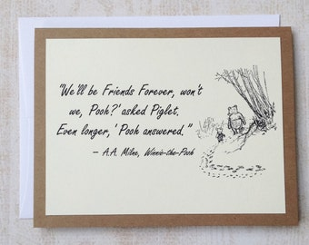 Friends Forever - Winnie the Pooh Quote - Classic Piglet and Pooh Note Card Cream On Kraft Brown
