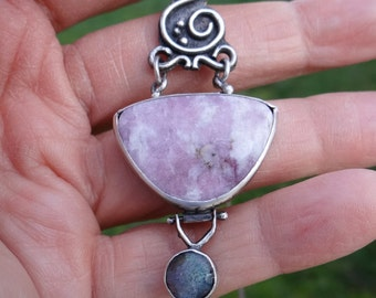 Valentine Pink Zoisite Thulite Labrodolite sterling scroll pendant with lamb's head