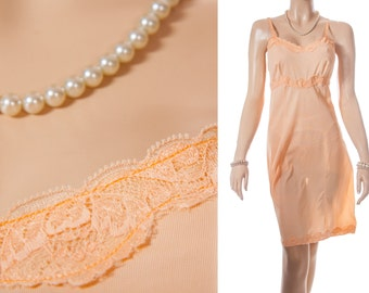 Delightful 'Queen Eleanor' silky soft sheer apricot Bri-Nylon and delicate lace detail 1950's vintage full slip underskirt - PL1335