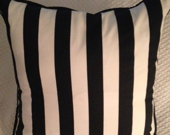 Black White Canopy STRIPE Custom Pillow, Corded Pillow WITH FORM, Reversible Pillow