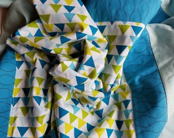 Blue and green geometric triangle blanket, minky dot back