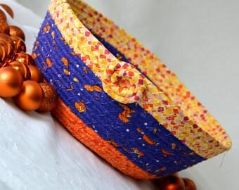 Sale.. Halloween Decoration, Handmade Halloween Candy Basket, Decorative Basket, Fall Decor, Hand Coiled Fabric Basket