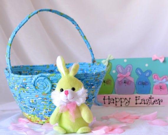 Boy Easter Basket, Handmade Blue Easter Bucket, Keepsake Baby Boy Easter Basket, Easter Egg Hunt Bucket, Easter Decoration