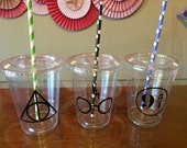 Harry potter inspired plastic cups 10 cups (16oz) ... Great for parties, birthdays, celebrations