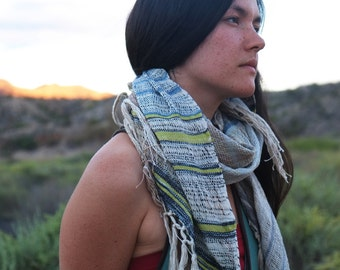Sacred Snake Handwoven Etherial Scarf - Soft & Simple Organic Cotton Linen and Raw Silk