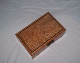 "Cherry Box with Maple Burl Top  12""'x7 1/2''x4 1/2'' Handcrafted Keepsake Box"