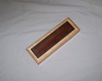 Pencil Box handmade Fiddle Back Maple, Desk box, Stach box, Jewelry box, Trinket box, Small wooden box, Keepsake box,