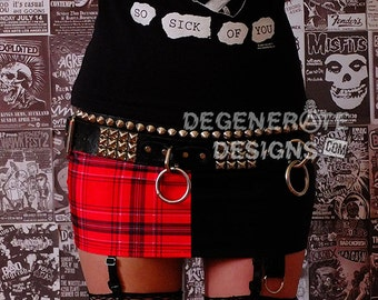 Red Plaid and Black Split PUNK Skirt Street Punk Rock Clothing Punx Mini Skirt XS - XXL