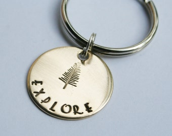 Nugold Brass OR Aluminum Key Chain Hand Stamped Charm EXPLORE Custom Made Personalized Travel Graduation TREE Nature Outdoors Adventure