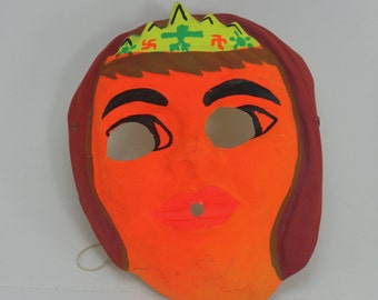 Vintage Halloween Mask Indian Princess Plastic Collectible Halloween Mask Spooky Halloween Party Halloween Decor